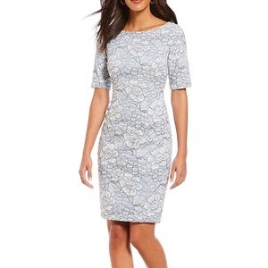 Eliza J Elbow Sleeve Lace Sheath Dress Powder Blue